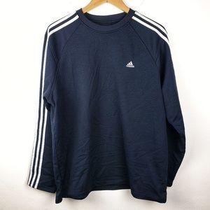 Adidas   Mens Navy 3 Stripes Long Sleeve Large
